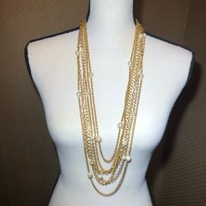JOAN RIVERS MULTISTRAND GOLD & FAUX PEARL NECKLACE